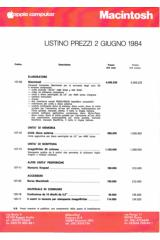 Apple Computer Inc. (Apple) - Macintosh Listino prezzi 1984-06-02