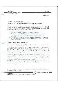 Motorola - Technical Summary - PowerPC 603 RISC Processor