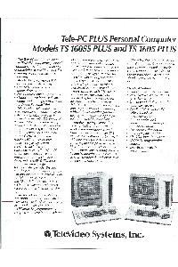 Televideo Systems Inc. - Tele-PC PLus Personal Computer Models TS 1605S Plus and TS 1605 Plus